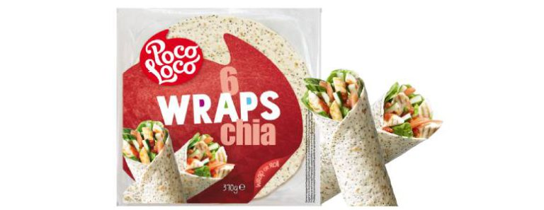 <center>New in our range:<br><center>Poco Loco wraps with Chia