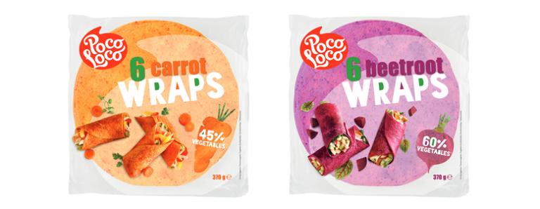 <center>Nouveau dans notre gamme:<br>Poco Loco Wraps de légumes